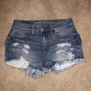 American Eagle blue jean shorts, size 00